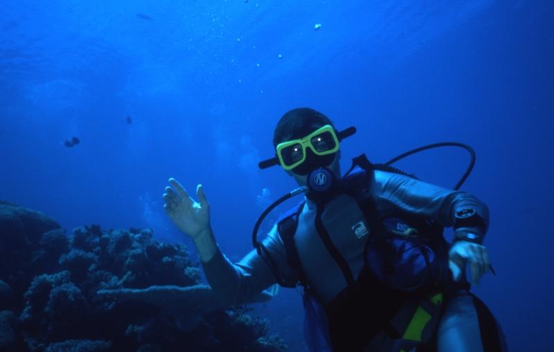 Brad by reef-Great Barrer Reef, Australia 1995