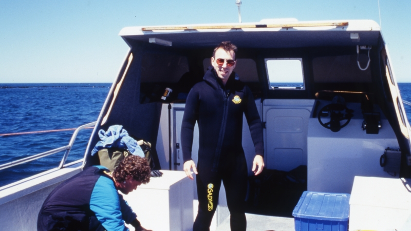 Brad getting ready for the Great white dive-Gansbaai, South Africa 1999