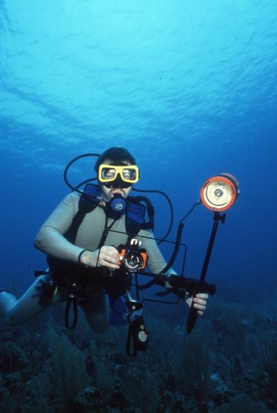 Brad with underwater camera-Belize