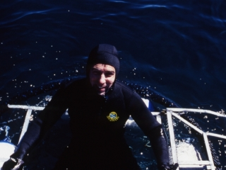 Brad having experienced the Great whites-Gansbaai 1999