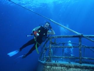 Brad over wreck-Exumas, Bahamas