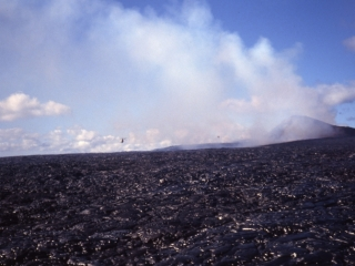 Kilauea lava field with helicopter-Hawaii