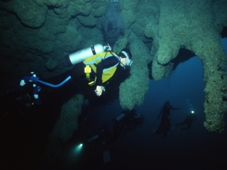 Stalactites & divers-Blue Hole, Belize