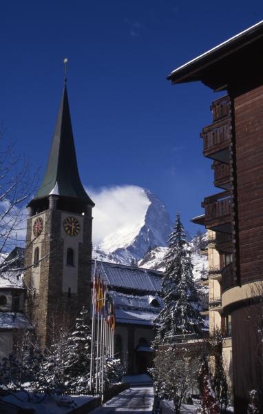 Matterhorn & Zermatt clock tower-Switzerland