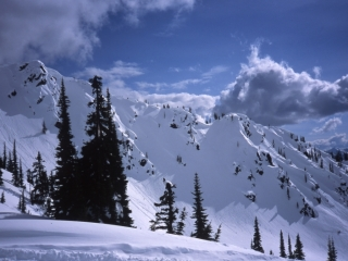 Great Northern Snow-Cat Skiing mountain scene-British Columbia