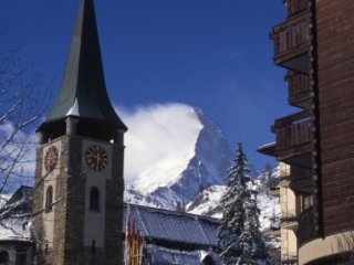 Matterhorn & Zermatt clock tower-Switzerland