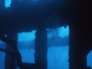 RMS Rhone with diver inside-British Virgin Islands